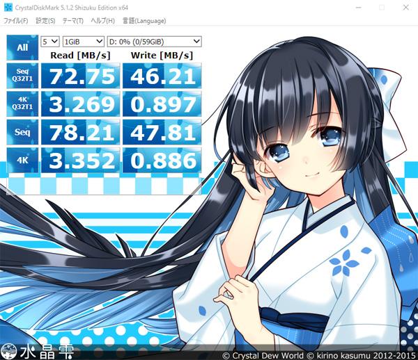 マイクロSDカード『Xtreem Micro SDXC UHS-I U3』→USB3.0カードリーダ 接続でのベンチマーク結果速度
