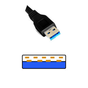 USB 3.0 Type A コネクタの形状 色は青