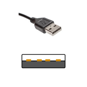 USB1.1~2.0 TypeAコネクタは同様の形状
