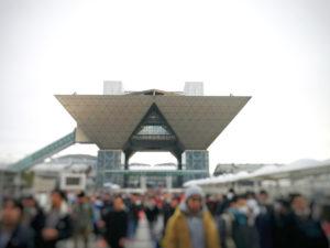 会場 東京ビッグサイト。曇天で、珍しく雨も降りました。