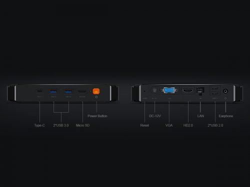 HeroBoxのポート装備詳細 前面:USB(TypeA×2/Type-C×1)、MicroSDスロット 背面:VGA出力(D-Sub25pin)、HDMI2.0、USB(TypeA×2)、LAN