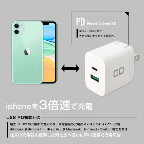 CIO PDQC18W iPhoneを3倍速で充電