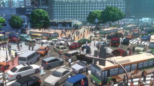 渋谷駅前のすべての人々、クルマも建物も全部3DCG