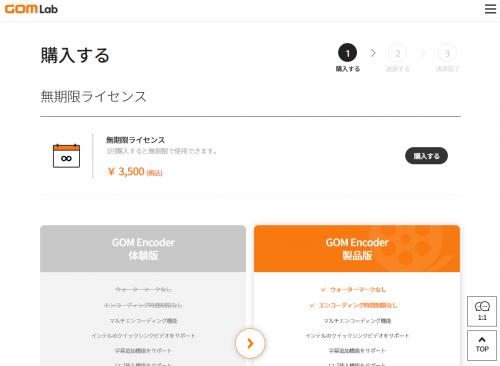 GOM Encoder ライセンス購入画面