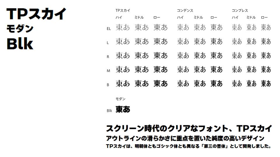 タイププロジェクト TPスカイファミリーに極太フォント『TPスカイ モダン Blk』を追加