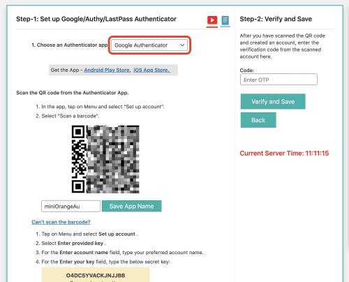 [1. Choose an Authenticator app]の欄は デフォルトで[Google Authenticator]になっているので……