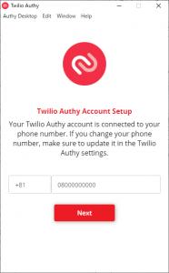 Authyのアカウントがスマートフォン電話番号と紐づけられている場合は、電話番号の入力でログイン設定を読み込めるが……