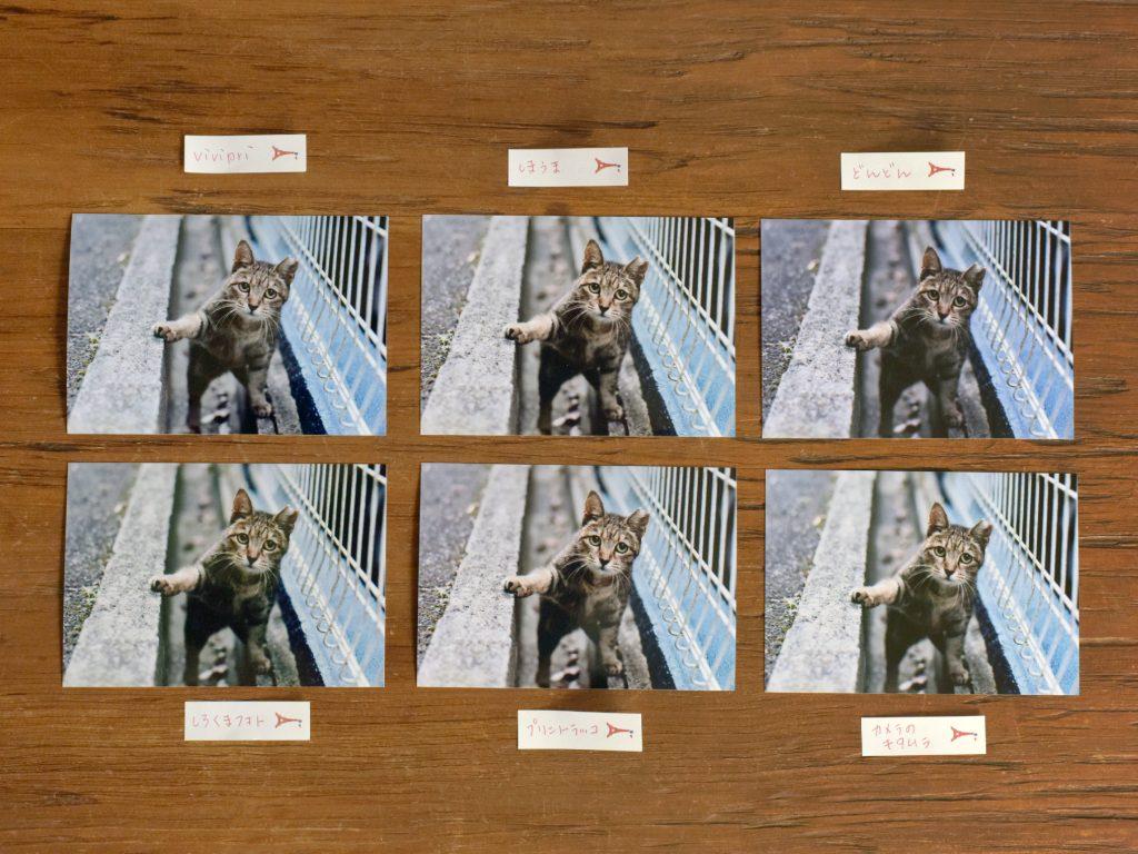 写真プリントサービス6社の、印刷結果一覧  NIKON D810/ISO-400