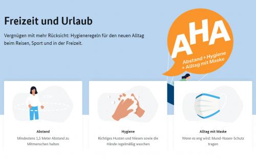ドイツ連邦保健省 AHAルール解説ページ 記載のAHA Abstand=距離を保つこと Hygiene=衛生 Alltag mit Maske=マスクの日常使用
