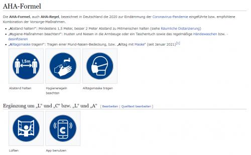 さらにその後、 Lüften=換気 App benutzen=アプリの使用 を追加した AHA+A+L なども提唱される 画僧:Wikipedia(ドイツ)AHA-Formel より