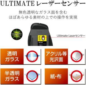 エレコム ULTIMATE レーザーセンサーの解説 画像はAmazon  エレコム  ULTIMATE LASER 握りの極み M-XGM20DLSBK より
