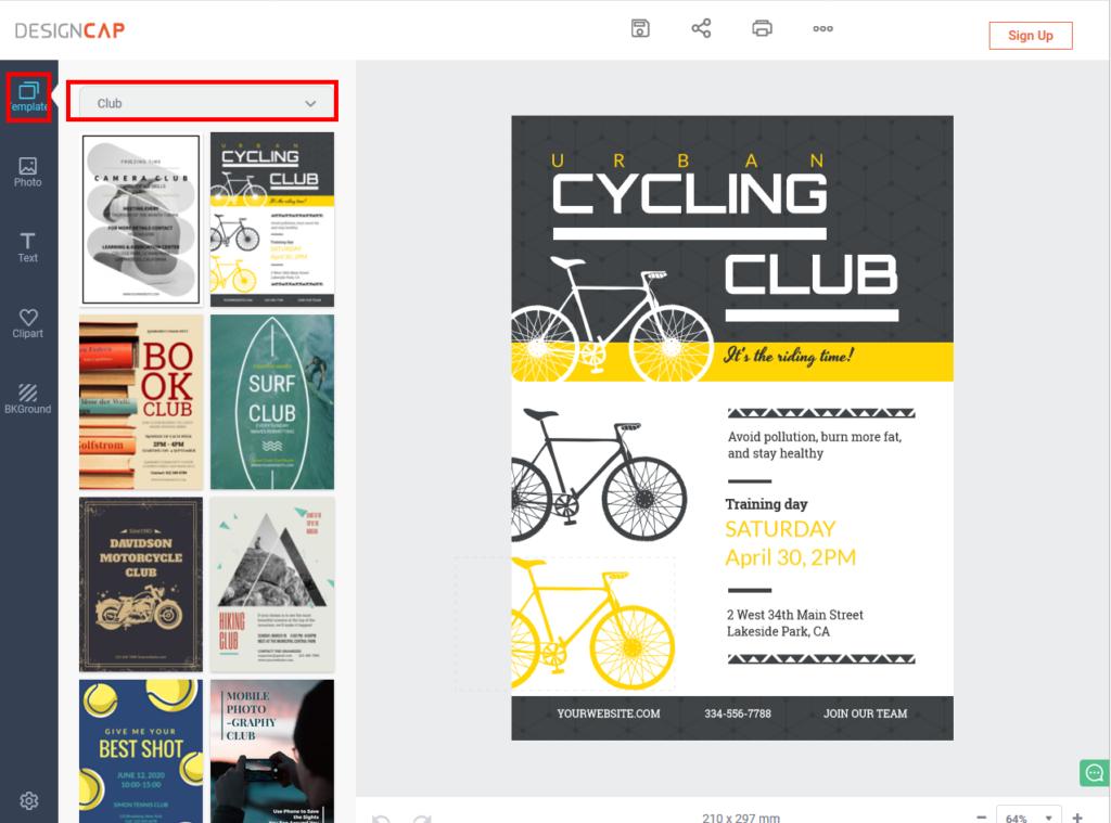 まずはテンプレートを選ぶ『CLUB』で検索