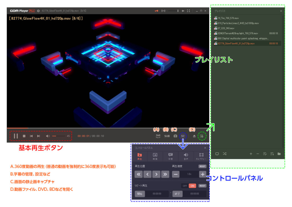 GOM Player Plus 画面右下のアイコンで様々な機能を制御
