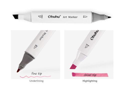 細いペン先と、平筆のようなペン先
