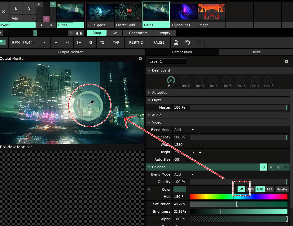 Color Eye Dropper は画面上のいたるところから採色可能!
