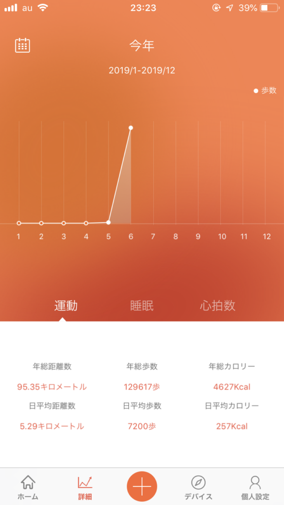 歩数の統計 今年