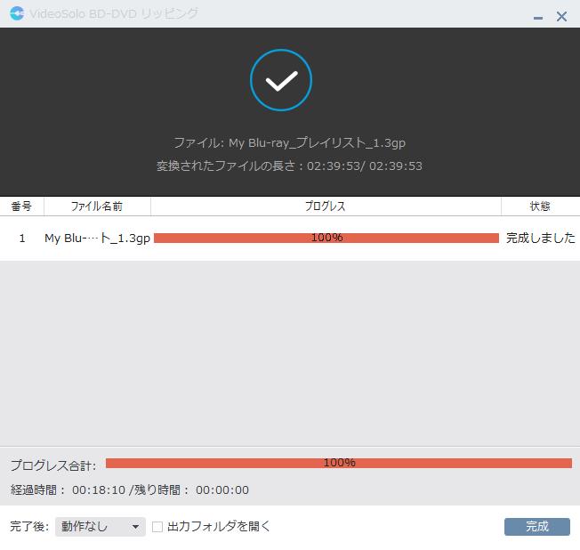 VideoSolo BD-DVD リッピング リッピング作業の完了