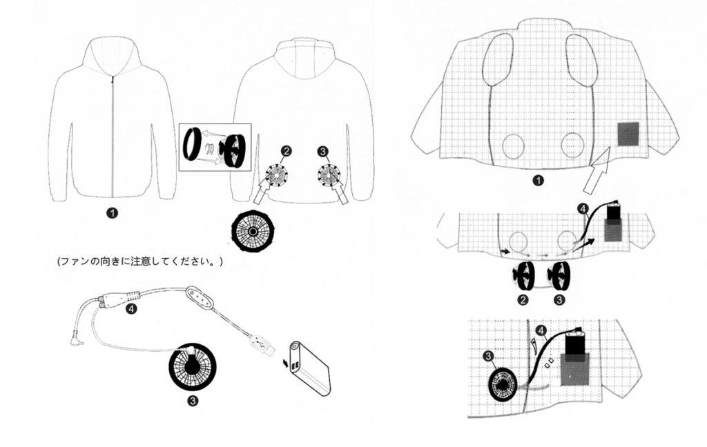 Vinmoriの空調服へのファンとバッテリー取り付け方法 (付属のマニュアルより)